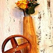 Rose Sphere And Mango Wood Vase Art Print