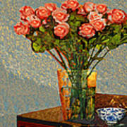 Roses And A Chinese Bowl Art Print