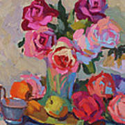 Roses And Apples Art Print
