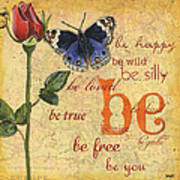 Roses And Butterflies 1 Art Print