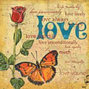 Roses And Butterflies 2 Art Print