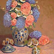 Roses And Daisies I Art Print
