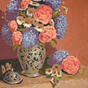 Roses And Daisies II Art Print