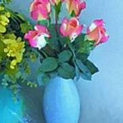 Roses And Flowers In A Vase Art Print
