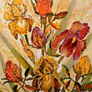 Roses And Irises Art Print