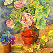 Roses And Pansies Art Print by Julia Rowntree