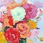 Roses And Ranunculus 2011 Art Print