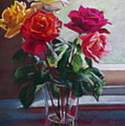 Roses By The Window Art Print