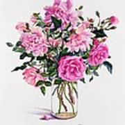 Roses In A Glass Jar  Art Print by Christopher Ryland