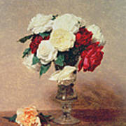 Roses In A Vase With Stem Art Print