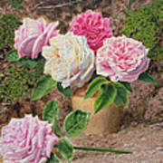 Roses In An Earthenware Vase By A Mossy Art Print