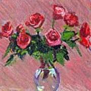 Roses On Pink Art Print