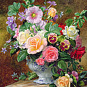 Roses Pansies And Other Flowers In A Vase Print by Albert Williams