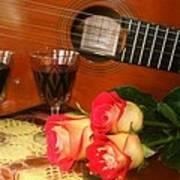 Guitar 'n Roses Art Print
