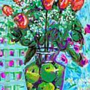 Roses With Apples Art Print