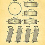 Ross Ice Hockey Puck Patent Art 1940 Art Print