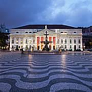 Rossio Square At Night In Lisbon Art Print