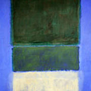 Rothko's No. 14 -- White And Greens In Blue Art Print