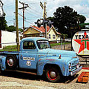 Route 66 - Gas Station With Watercolor Effect Art Print by Frank Romeo