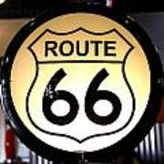 Route 66 Lighted Sign Art Print