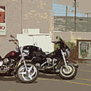 Route 66 Motorcycles With A Dry Brush Effect Art Print
