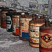 Route 66 Odell Il Gas Station Oil Cans Digital Art Art Print