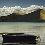Row Boat On Silver Lake With Dunes Art Print