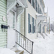 Row Houses On A Snowy Day Art Print