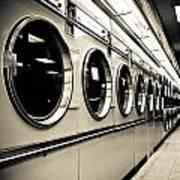 Row Of Washing Machines In Laundromat Art Print