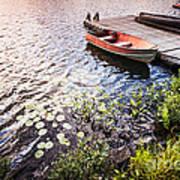 Rowboat At Lake Shore At Sunrise Art Print