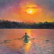 Rowing Away Print by Eve  Wheeler