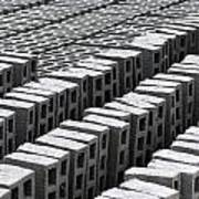 Rows Of Concrete Bricks Drying Art Print