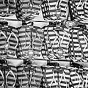 Rows Of Flip-flops Key West - Black And White Art Print