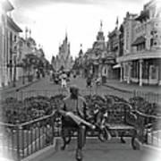 Roy And Minnie Mouse Black And White Magic Kingdom Walt Disney World Art Print