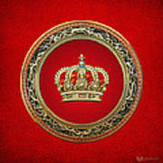 Royal Crown In Gold On Red  Art Print
