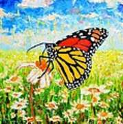 Royal Monarch Butterfly In Daisies Art Print