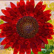 Royal Red Sunflower Art Print