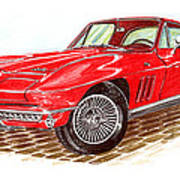 Ruby Red 1966 Corvette Stingray Fastback Art Print