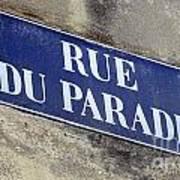 Rue Du Paradis Street Sign Art Print