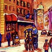 Rue St. Paul Old Montreal Streetscene In Winter Art Print