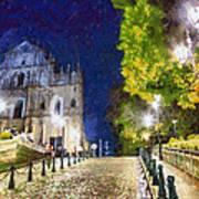 Ruins Of St. Paul's During At Night Art Print