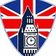 Runner Sprinter Start British Flag Shield Art Print