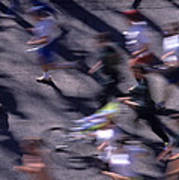 Runners Along Street In A Marathon Blurred And Abstract Art Print