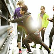 Runners Preparing In Urban Invironment Art Print