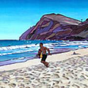 Running At Makapuu Print by Douglas Simonson