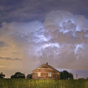 Rural Country Cabin Lightning Storm Art Print