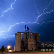 Rural Lightning Storm Art Print