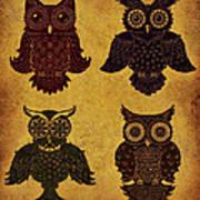 Rustic Aged 4 Owls Art Print