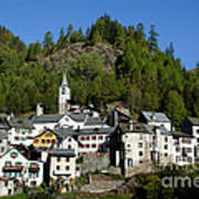 Rustic Alpine Village Art Print