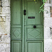 Rustic Green Door With Vines Art Print